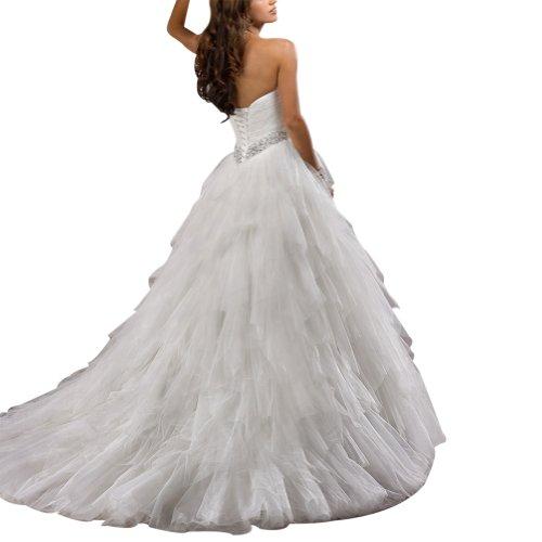 Satin mit ueber Hochzeitskleider Perlen Zug Tuell Kapelle Taille BRIDE Brautkleider GEORGE Weiß Twqt66