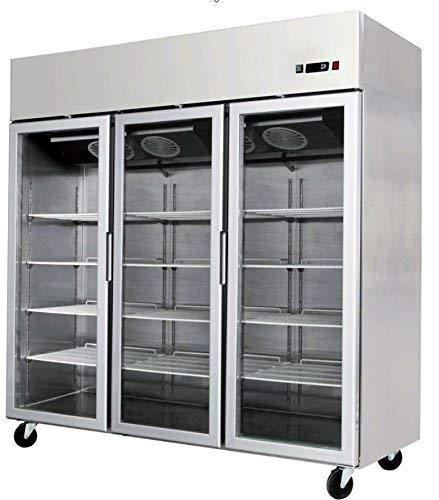 78\' 3 Door Glass Front Refrigerator Fridge Commercial Merchandiser, MCF-8606, Stainless Steel, with LED lighting