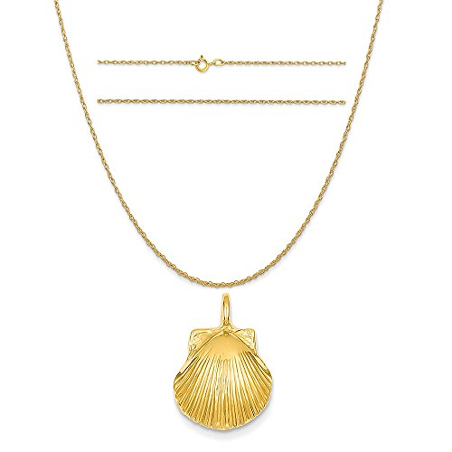 14k Yellow Gold Seashell Pendant on a 14K Yellow Gold Carded Rope Chain Necklace, 18