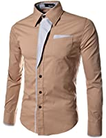 N320 TheLees Mens Casual Long Sleeve Stripe Patched Fitted Dress Shirts