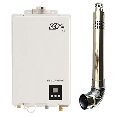 EZ Supreme Tankless Water Heater - 6.4 GPM - Propane LPG - Indoor Whole Home - Direct Vent Exhaust - Direct Gas Vent Propane Ignition
