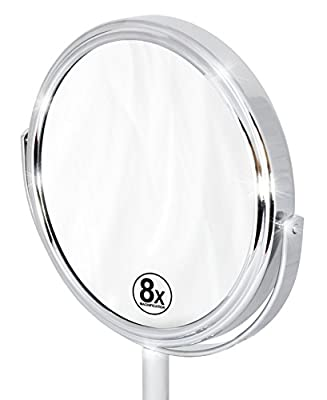 Decobros 6-inch Tabletop Two-Sided Swivel Vanity Mirror with 8x Magnification, 11-inch Height, Chrome Finish
