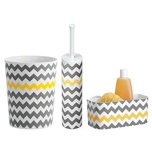 mDesign Modern Plastic Bathroom Storage and Cleaning Accessory Set - Includes Small Round Wastebasket, Suction Shower Basket, Toilet Bowl Brush and Holder, Chevron Pattern, Set of 3 - Gray/Yellow