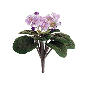 "Silk Flowers African Violet Bush in Lavender Purple - 10.5"" Tall 82"