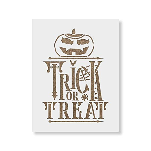 (Trick Or Treat Stencil Template - Reusable Stencils for Painting in Small & Large)