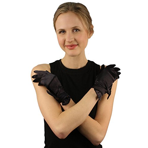 Elegant Satin Glossy Ribbon Bow Stretchy Wrist Length Dressy Evening Gloves Black (Tea Length Ribbon)