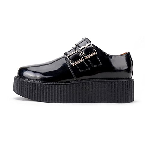 Schnalle Punk Leder Platform Creepers Flache RoseG Oxfords Schuhe Herren OBn5YX