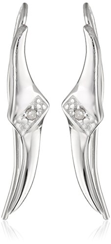 (The Ear Pin Diamond Accent Center Tapered Tips Sterling Silver Earrings)