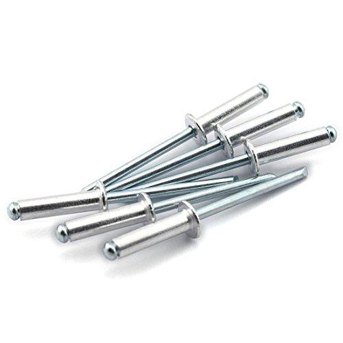 HJ Garden 60pcs 3/16 x 3/4 (6-12) Aluminum Blind Pop Rivet Round Dome Head Open End Decorating Fastener Nails Pop Rivets 4.8x18mm
