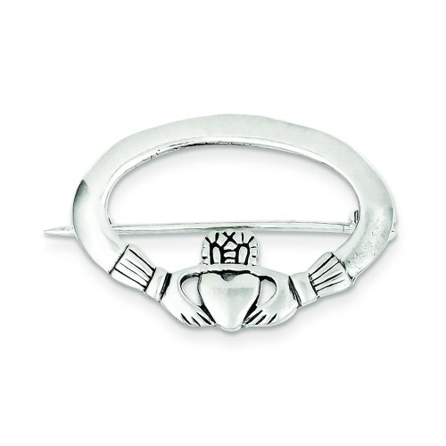 Sterling Silver Claddagh Pin Irish Love Jewelry