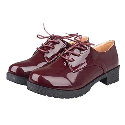 Geachte Tijd Dames Oxfords Platte Schoenen Rood