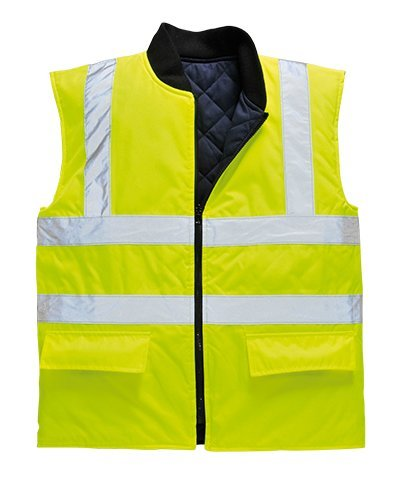 Portwest US469YERXL Regular Fit Hi-Vis Reversible Bodywarmer Vest, X-Large, Yellow