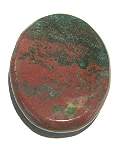CRYSTALMIRACLE EXCLUSIVE BLOODSTONE WORRY STONE THUMB STONE POSITIVE ENERGY CRYSTAL HEALING GIFT METAPHYSICAL POWERFUL HEALTH WEALTH REIKI PROTECTIVE WICCA MEDITATION FENG SHUI