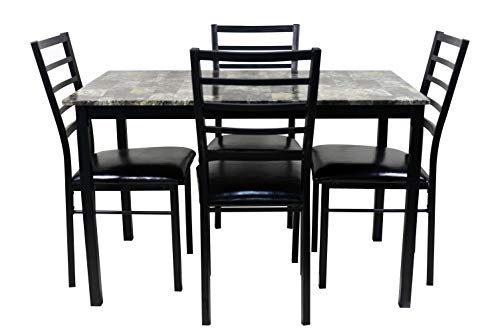 NBLiner Contemporary Style 5 Piece Casual Dining Set with Rectangular Faux Marble Table Top and 4 Cushioned Ladder Back Chairs