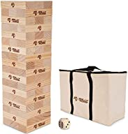 Rally and Roar Toppling Tower - Giant Tumbling Timbers Game – 2.5 feet Tall (Build to Over 5 feet) Premium Woo