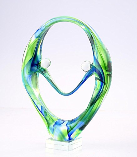 "11"" Hand Blown Glass Murano Art Style Fused Sculpture Figurine Abstract Green Blue Couple Holding Hands"