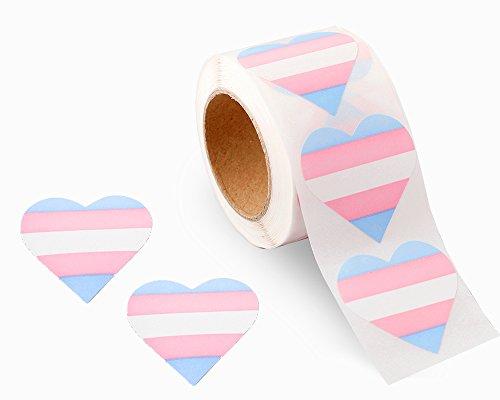 Gay Pride -Transgender Pride Heart Stickers (1 Roll - 250 Stickers)