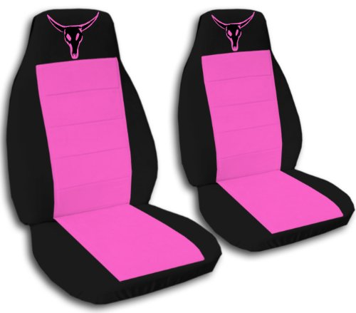 2 black and hot pink car seat covers with a bull skull for a 2003 Ford Focus (Cover Pink Car Skull Seat)