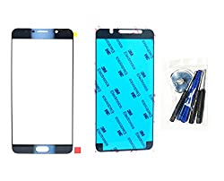 Md0410 Black Sapphire Blue Front Outer Glass Lens Replacement Compatible For Galaxy Note 5 N9200 N920a N920p N920t N920r + Adhesive + Tools (Lcd Touch Screen & Digitizer Not Included)