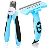 Laneco 2 in 1 Pet Grooming Set including Deshedding Brush and Nail Clipper for Dogs and Cats
