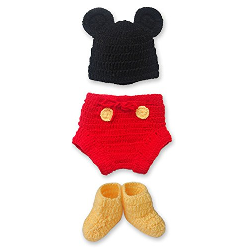 Slipknot Outfit (YiZYiF Baby Girl's Boy's Newborn Knit Crochet Clothes Photo Prop Outfit Set (3Pcs Red&Black))