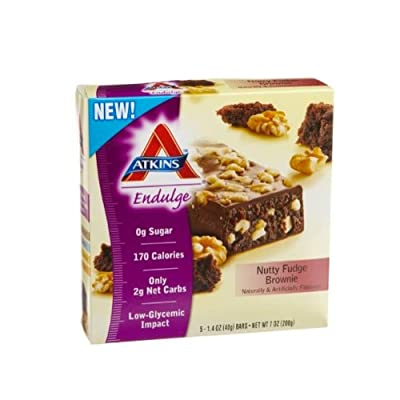 Atkins Endulge Nutty Fudge Brownie Bars, 5-Count Box (Pack of 2)