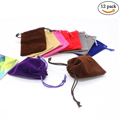 (Pack of 12 Mix Color Soft Velvet Pouches w Drawstrings for Jewelry Gift Packaging By IDS,7&9CM)