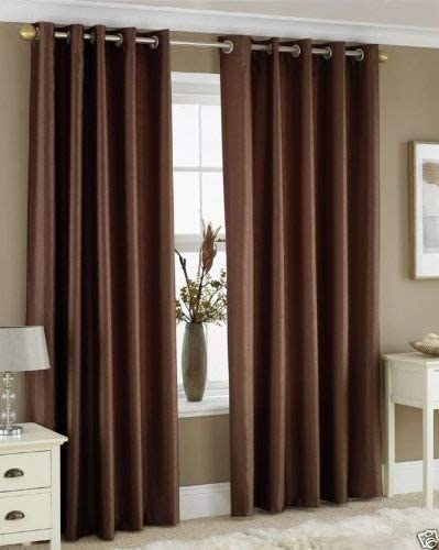 """CHOCOLATE BROWN FAUX SILK LINED CURTAINS WITH EYELET RING TOP 66 x 90"""""""