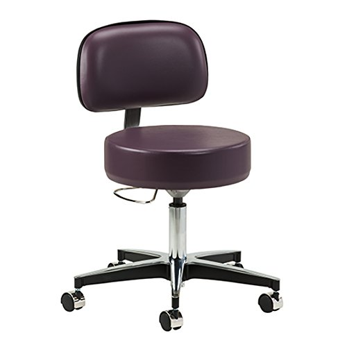 Purple Gray 5-Leg Pneumatic Stool with Backrest - CL-2156-21