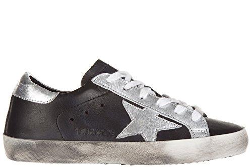 Golden Goose chaussures baskets sneakers femme en cuir superstar noir
