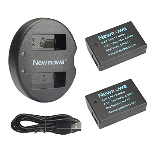 LP-E17 Newmowa Replacement Battery (2 Pack) and Dual USB Charger Kit for Canon EOS M3 M5 M6 200D 750D 760D 800D Rebel T6i T6s 8000D Kiss X8i Digital Cameras