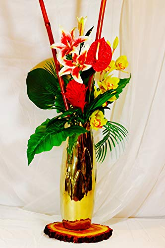 Nearly Natural Tropical Floral and Calla Lily Arrangement, Red/Yellow/White/Pink ()