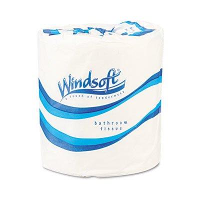 Windsoft 2210 Single Roll Bath One-Ply Bathroom Tissue, White (Case of 96)