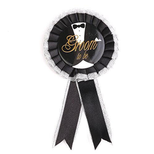 Groom To Be Rosette Badge Brooch for Stag Night Party Black