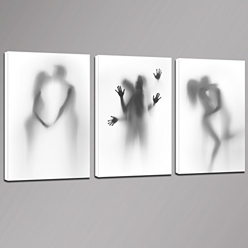 """Sea Charm - Sexy Canvas Wall Art Bedroom Decoration,Abstract Nude Couple in Shower Hazy Silhouette Photos Print on Canvas,Modern 3 Pieces Canvas Art Ready to Hang,Each Piece 16""""x24""""inches"""