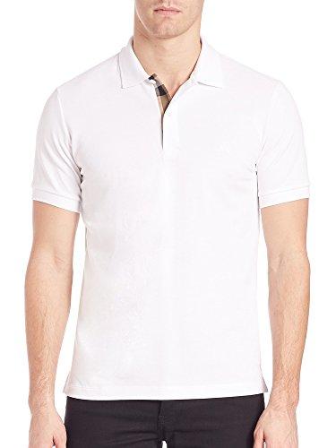 Burberry Brit Mens Short Sleeve Nova Check Placket Polo Shirt (Medium, - Burberry White