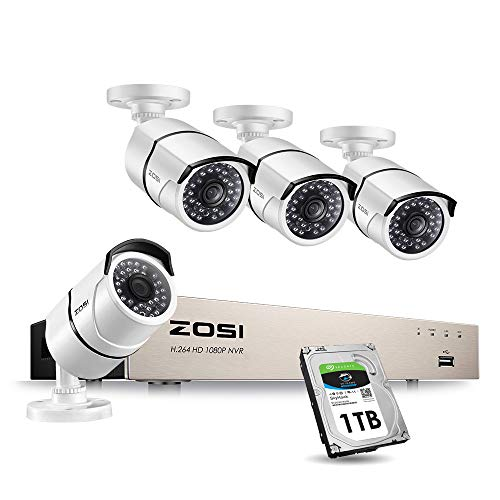 ZOSI 1080P PoE Home Security Camera System,8CH 1080p CCTV NVR Recorder with 1TB Hard Drive and (4) 2MP 1920TVL Indoor Outdoor Weatherproof PoE IP Cameras with 100ft Night Vision for 24/7 Recording