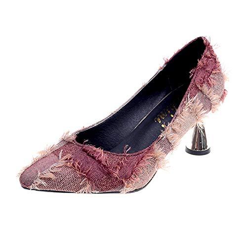 Altos De Alto Mujer De Boca Yukun De con De Profunda tacón Tazón Poco Zapatos Tacón De Mujer Zapatos alto De Khaki Profesional Otoño Vino Tacones de zapatos wzaxqnYaZC