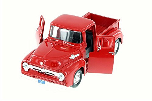 1955 Ford F-100 Pick Up Truck, Red - Motor Max 79341AC/R - 1/24 Scale Diecast Model Toy Car