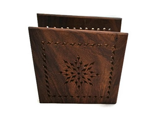 StarZebra Gift Ideas - Wood Luncheon Handmade Napkin Holder - Decorative Dining Centerpiece Napkin Organizer
