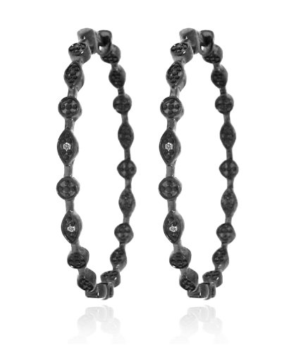 """925 Sterling Silver Classic """"In and Out"""" Patterned Black Rhodium 0.03 Carats ..."""