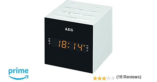 AEG MRC 4150 - Radio Despertador Digital con USB para Carga de móvil (Am/FM/USB/AUX-IN) Blanco y Negro