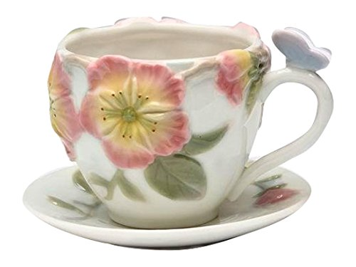 Cg 20811 2Piece Set of White Teacups with Saucers & Apple Blossom - Apple Tea Saucer