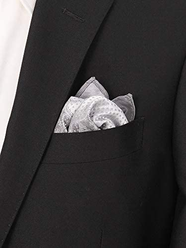 (ザ・スーツカンパニー) ジャカード織り シルクポケットチーフ シルバー系