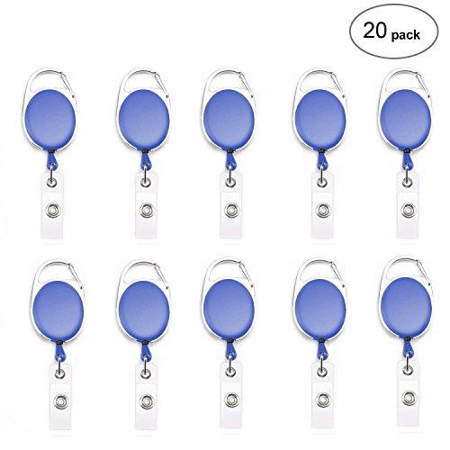 Fushing 20Pcs Carabiner Badge Reels Retractable ID Card Reels (Blue)