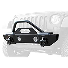 Rampage Products 88509 Black Textured Finish Mass Articulation Stubby Front recovery Bumper with Stinger for Jeep Wrangler JK 2-Door/4-Door