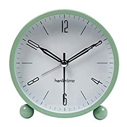 Snifu Analog Alarm Clock,Easy Set Small Desk Clock,Non Ticking,with Night Light, Battery Powered Super Silent Alarm Clock,Green