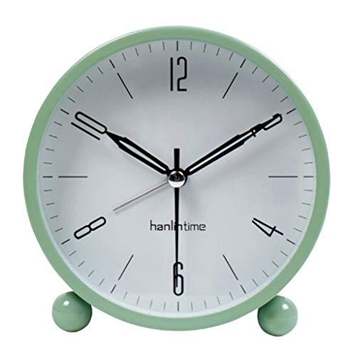 Snifu Analog Alarm Clock,Easy Set Small Desk Clock,Non Ticking,with Night Light, Battery Powered Super Silent Alarm Clock,Green