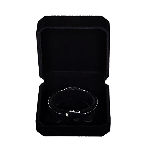 Black Velvet Jewelry Gift Box (HooAMI Square Black Velvet Bracelet Gift Box Jewelry Display)