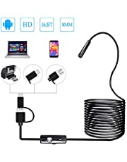 PiAEK Endoskop Android 3 in 1 USB/Micro USB/Type-C Inspektionskamera 2.0 Megapixel HD USB Endoskope Waterproof Endoskopkamera Semi-Rigid Cable for Android/Windows/Mac OS Computer -16.4ft (5M)